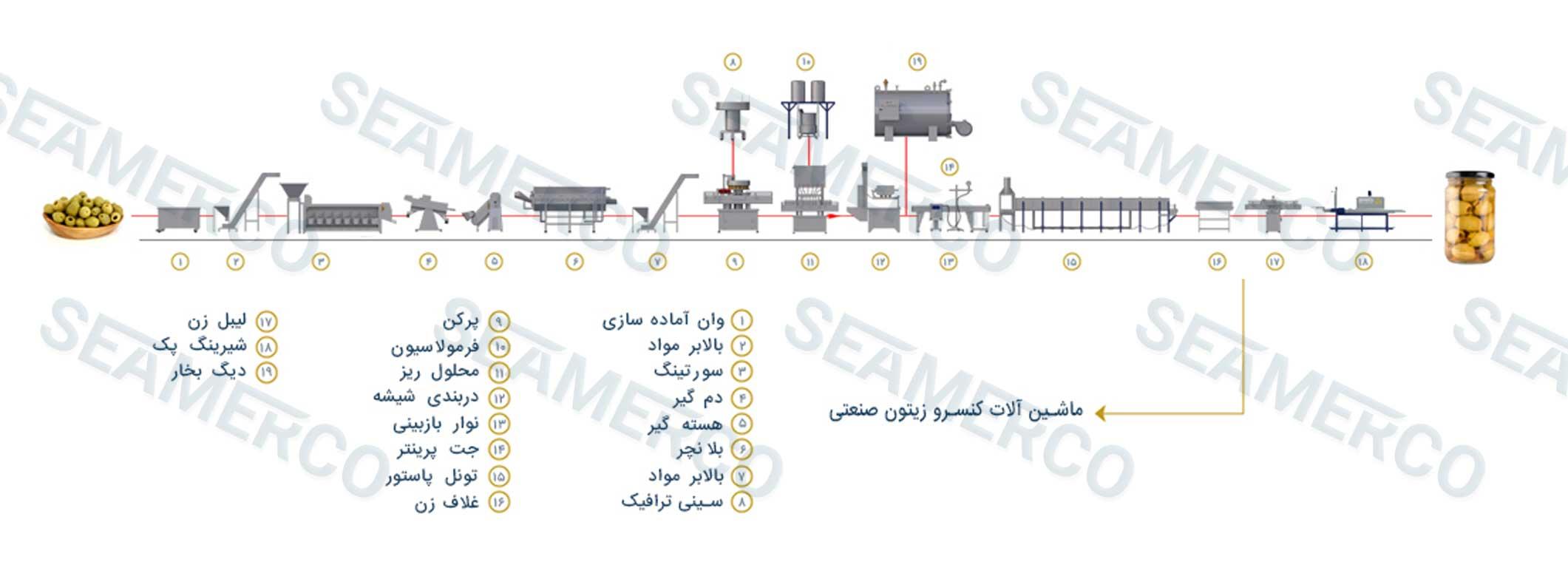 جانمایی ماشینآلات (لیوت)خط تولید کنسرو زیتون